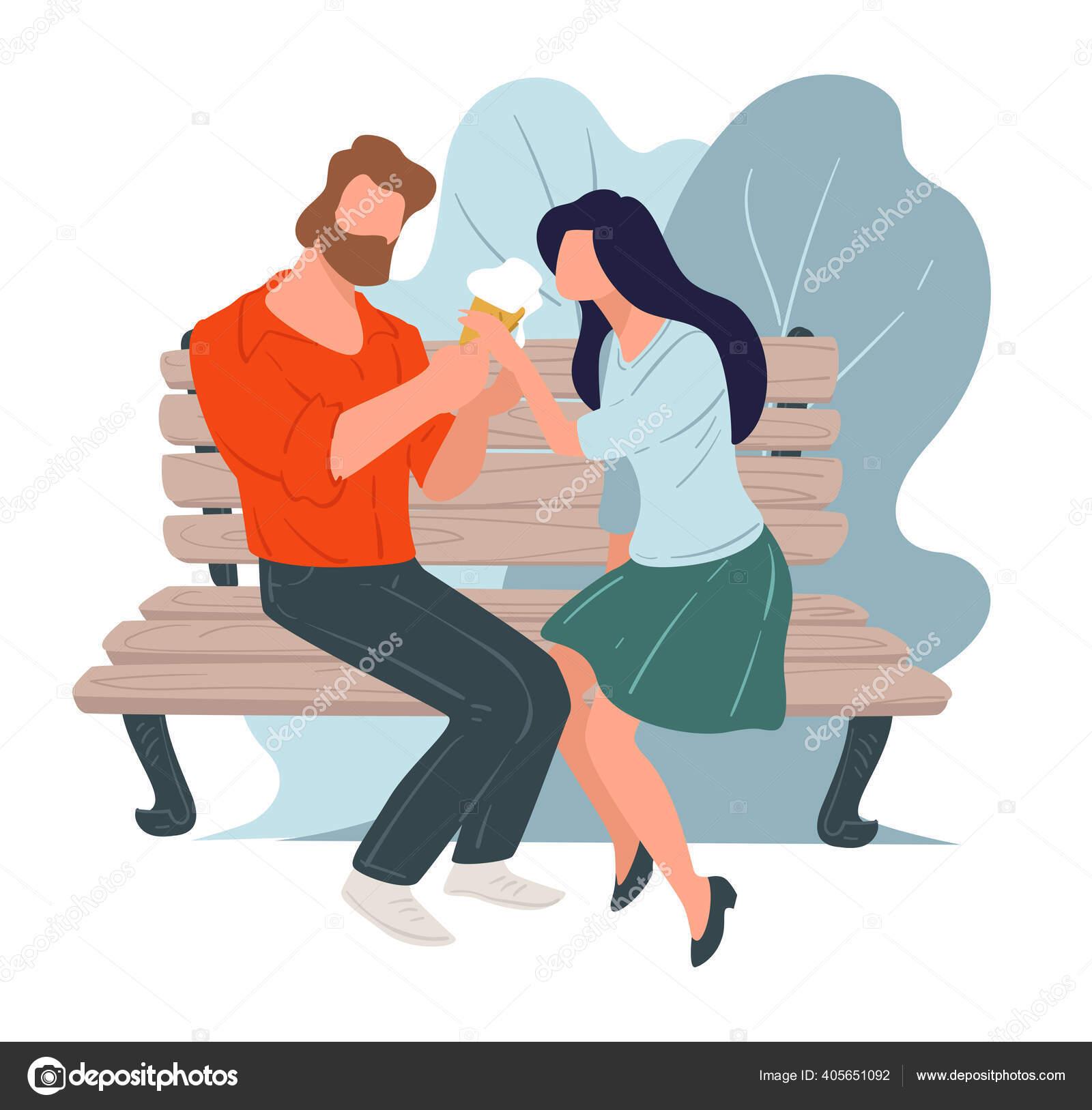 Pasangan Pada Tanggal Makan Es Krim Duduk Di Bangku Stok Vektor C Sonulkaster 405651092
