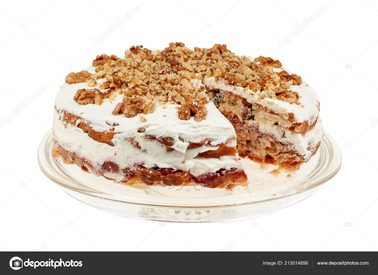 Pyszne Ciasto Z Jablkiem I Bita Smietana Napelniania Zdjecie
