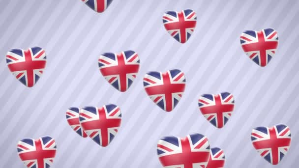 Flying flagged hearts. Britain. Looping. Alpha channel is included.