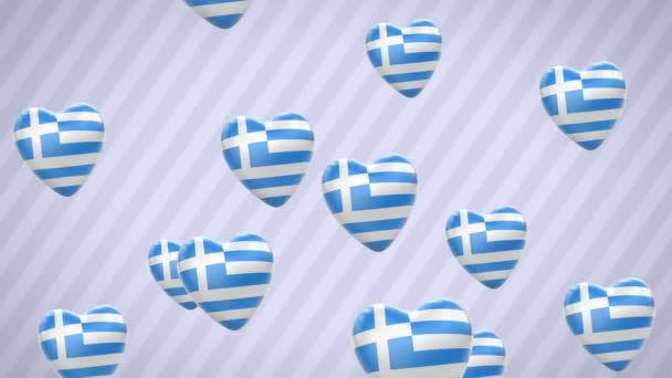 Flying flagged hearts. Greece. Looping. Alpha channel is included.