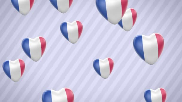 Flying flagged hearts. France. Looping. Alpha channel is included.