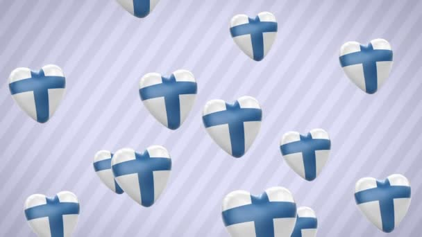 Flying flagged hearts. Finland. Looping. Alpha channel is included.