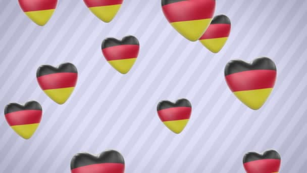 Flying flagged hearts. Germany. Looping. Alpha channel is included.