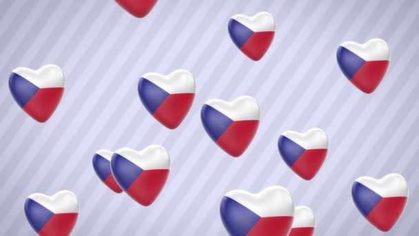 Flying flagged hearts. Czech republic. Looping. Alpha channel is included.