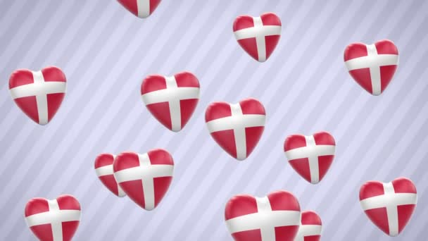 Flying flagged hearts. Denmark. Looping. Alpha channel is included.