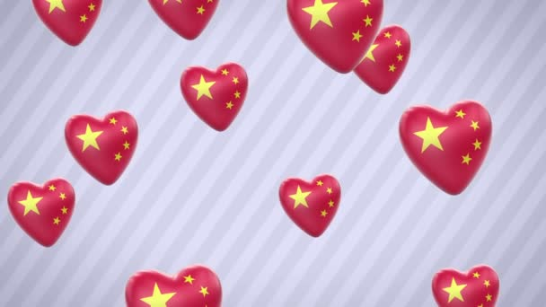 Flying flagged hearts. China. Looping. Alpha channel is included.