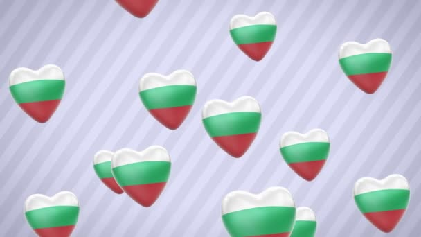 Flying flagged hearts. Bulgaria. Looping. Alpha channel is included.