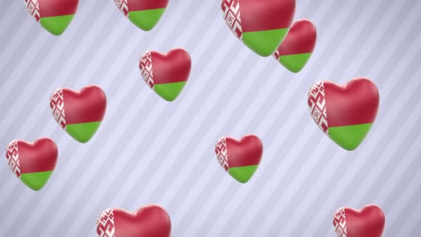 Flying flagged hearts. Belarus. Looping. Alpha channel is included.