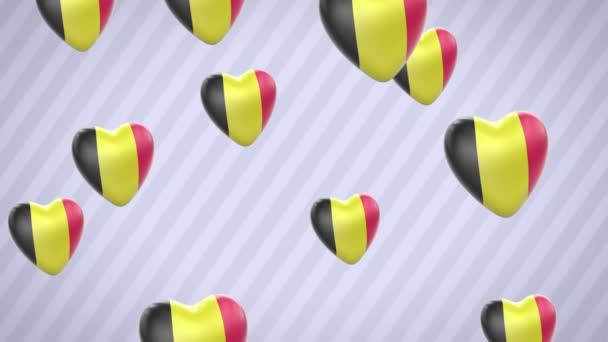 Flying flagged hearts. Belgium. Looping. Alpha channel is included.