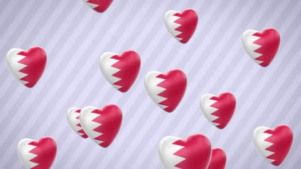Flying flagged hearts. Bahrain. Looping. Alpha channel is included.
