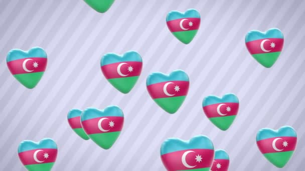 Flying flagged hearts. Azerbaijan. Looping. Alpha channel is included.