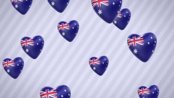 Flying flagged hearts. Australia. Looping. Alpha channel is included.