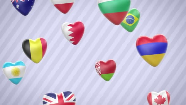 Flying flagged hearts. Looping. Alpha channel is included.