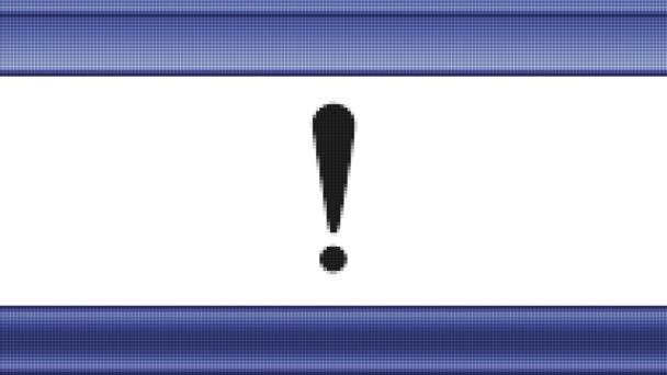Aufmerksamkeit auf einen Pixel-Bildschirm-Symbol. Looping