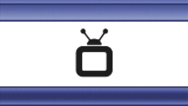 TV-Symbol auf einem Pixel Bildschirm. Looping