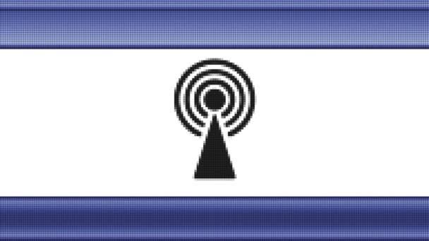 Antennensymbol auf einem Pixelbildschirm. Schleife.