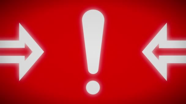Attention icon on a red screen. Looping.