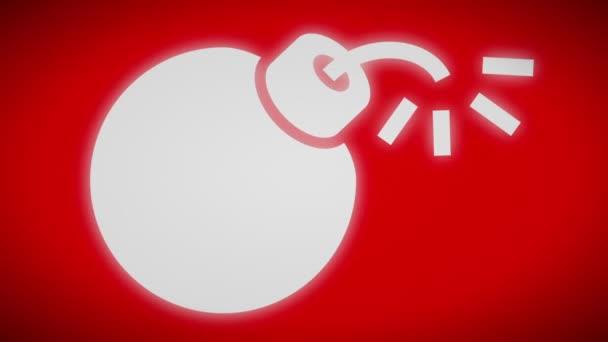 Bombe-Symbol auf einem roten Bildschirm. Looping