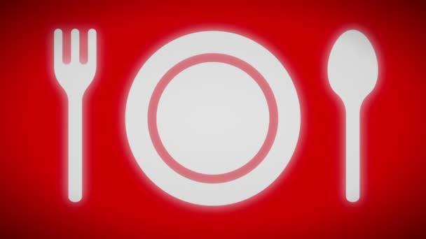 Večeře ikona na obrazovce červeně. Opakování.