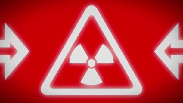 Radiační ikona na obrazovce červeně. Opakování.