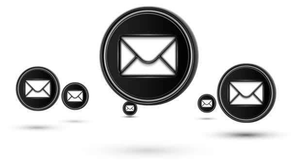 Skákací ikony e-mailu. Opakování. Izolované na bílém pozadí