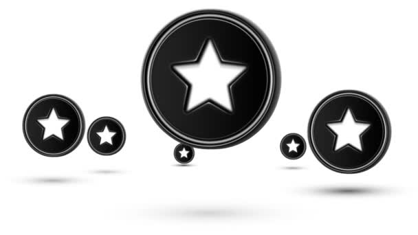 Jumping star icons. Looping. Isolated on white background