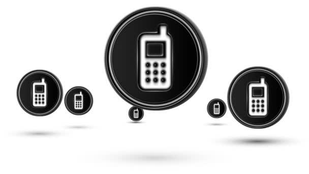 Na lyžích mobilní ikony. Opakování. Izolované na bílém pozadí