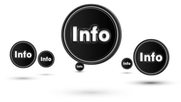 Skákací ikony info. Opakování. Izolované na bílém pozadí