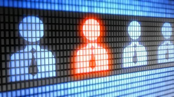 Osoba ikona na obrazovce. 4k rozlišení. Kodér Prores 4444. Výborná kvalita. Opakování.