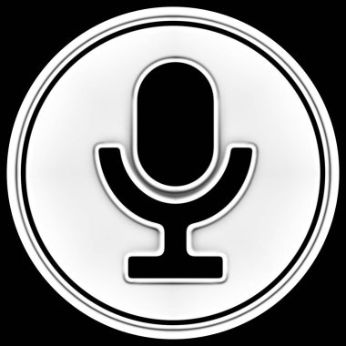 Microphone icon in a circle. Illustration.