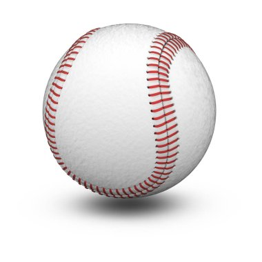 Baseball in white background. 3D Illustration.