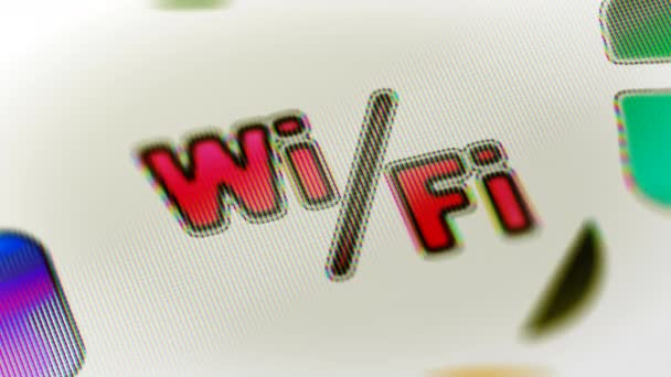 Wi-Fi-Symbol auf dem Bildschirm. Looping Filmmaterial hat 4 k Auflösung. ProRes 4444. 3D illustration