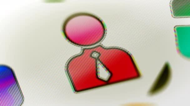 Osoba ikona na obrazovce. Opakování záběru má rozlišení 4 k. ProRes 4444. 3D obrázek.