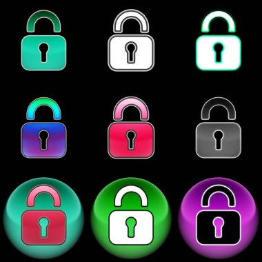 The lock icon. Color illustration. stock vector