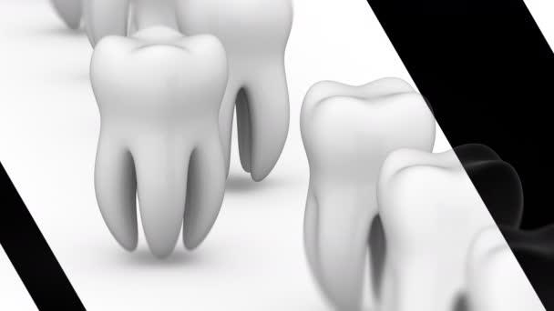 Der Zahn. Looping-Aufnahmen haben eine Auflösung von 4k. prores 4444. 3D-Illustration.