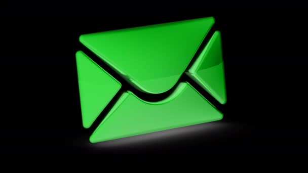 Ikona elektronické pošty. Opakování záběru má rozlišení 4 k. ProRes 4444. 3D obrázek.