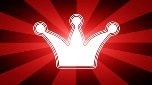 Crown icon in red abstract background with rays. Looping footage with Prores 4444 and 4K resolution.