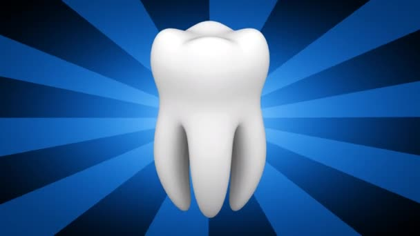 tooth on blue striped background, 3D video