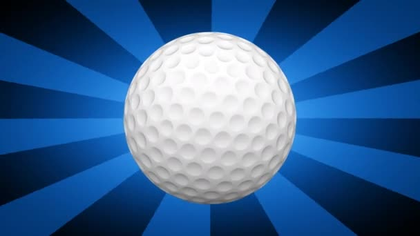 golf ball on blue striped background, 3D video