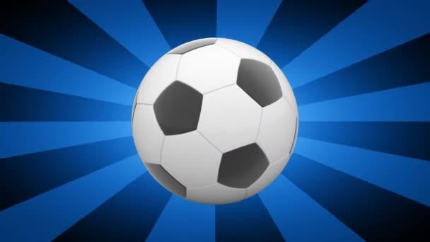 fotbalový míč na modrém proužkované pozadí, 3D video