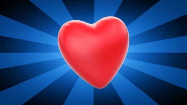 szív, kék csíkos háttér, 3D video