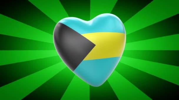 Bahamas flag in shape of heart