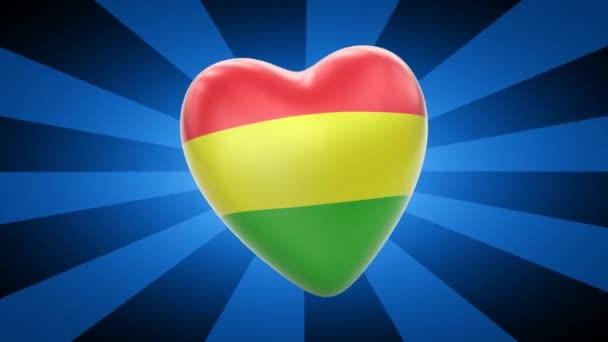 Bolivia flag in shape of heart