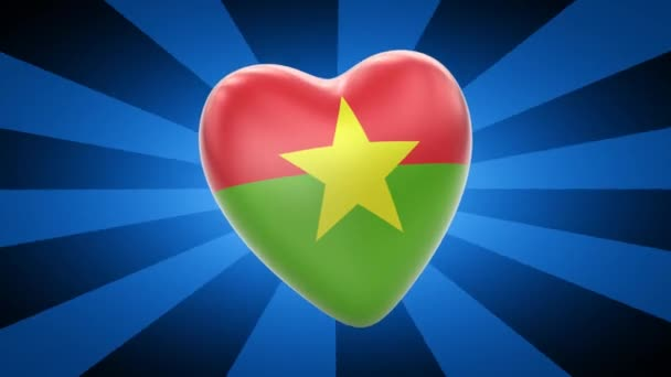 Burkina Faso flag in shape of heart
