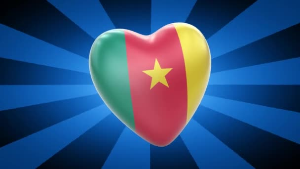 Cameroon flag in shape of heart