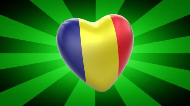 Romania flag in shape of heart