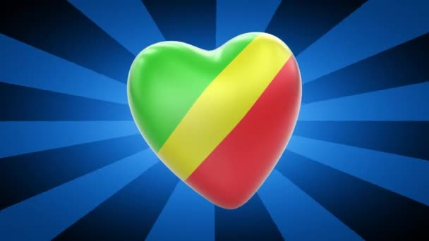 Republic of the Congo flag in shape of heart