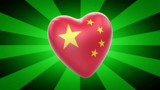 China flag in shape of heart