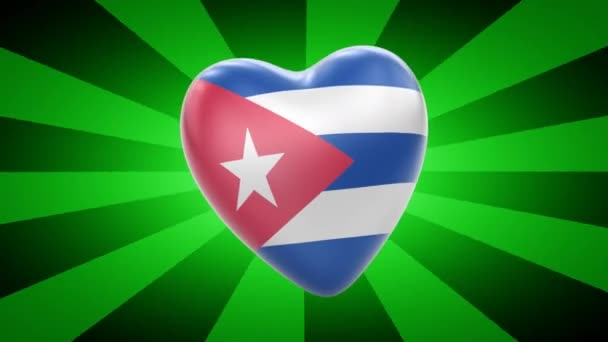Cuba flag in shape of heart