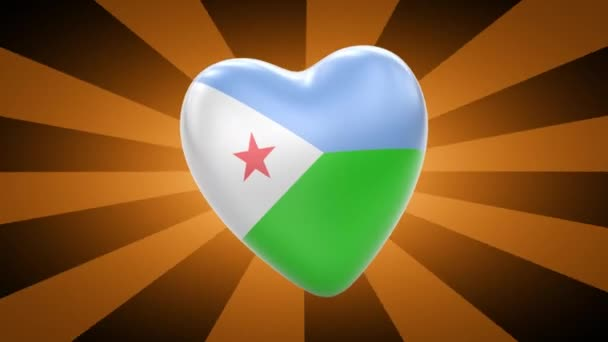Djibouti flag in shape of heart